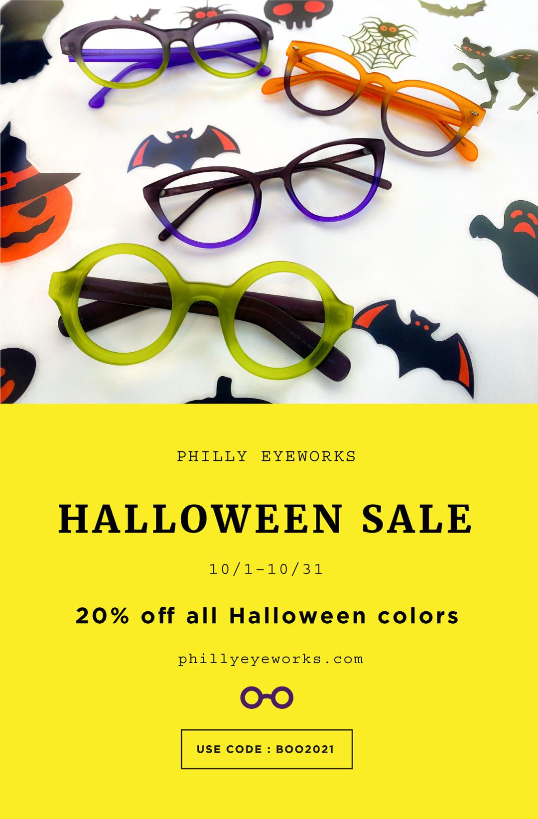 Halloween Sale. 10/1-10/31. 20% off all Halloween colors. Use code BOO2021.